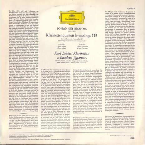 KLARINETTENQUINTETT H - MOLL IN B MINOR